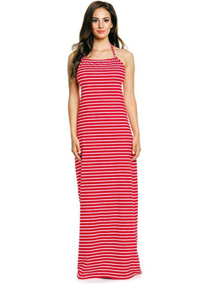 Halter Neck Striped Beach Maxi Dress For Sale | Fashionhouse