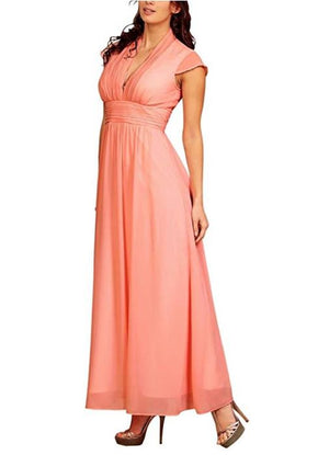 Pleated V-Neckline Evening Dress