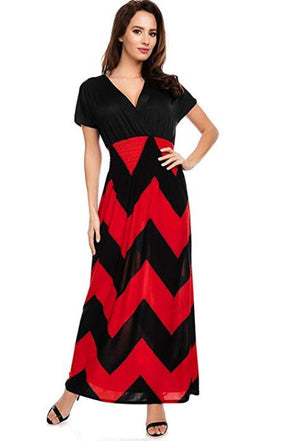 Zig-Zag Wave Short Sleeve Maxi Dress