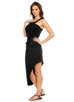 Asymmetrical Front Tie Bodycon Dress