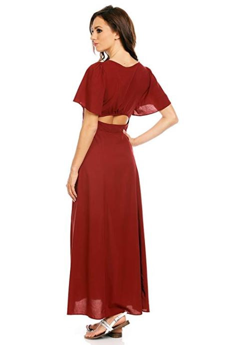 Elegant Short Sleeve Cotton Maxi Dress