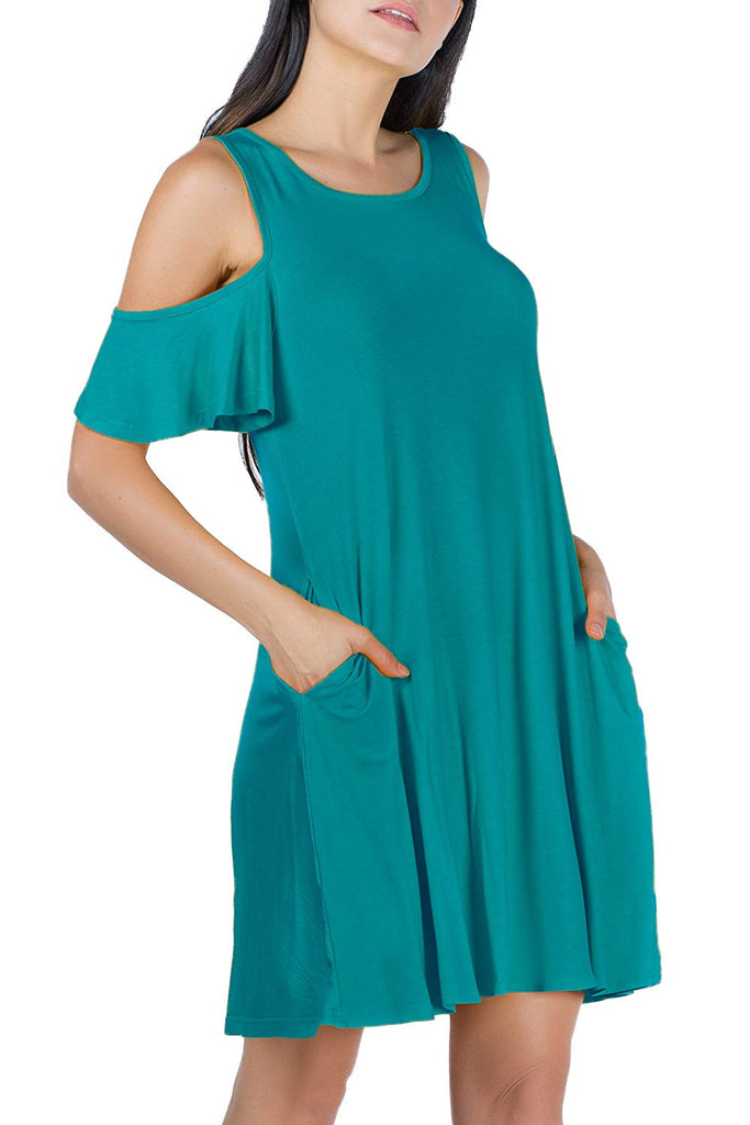 Viscose Cold Shoulder Pocket Midi Dress