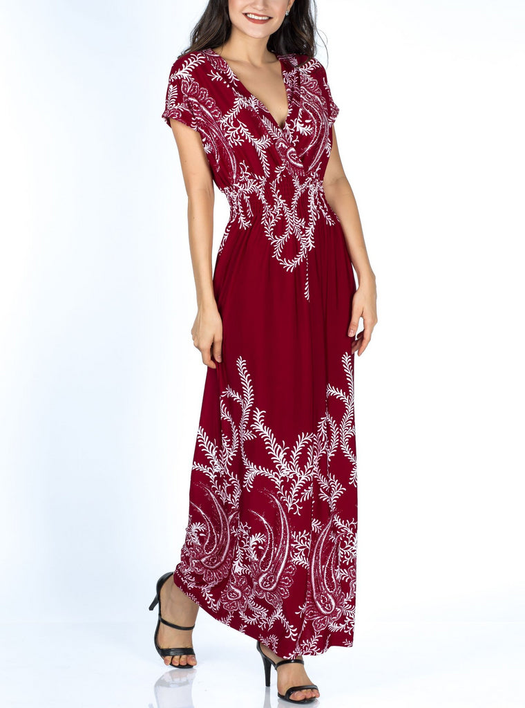 Floral Sleeve Printed Maxi Dress