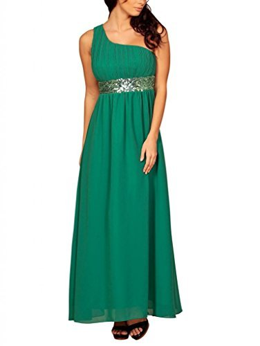 Women's Long One-Shoulder Sequin Formal Evening Dress