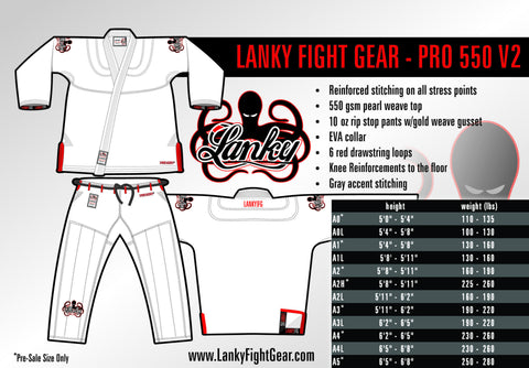 PRO 550 V2 - White - SEPARATES - Lanky Fight Gear  - 1