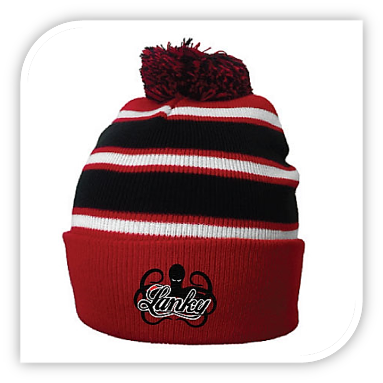 Red and Black Throwback Beanie - Lanky Fight Gear