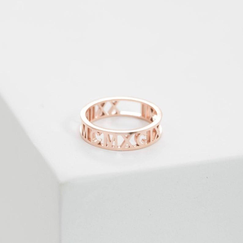Custom Roman Numerals Ring
