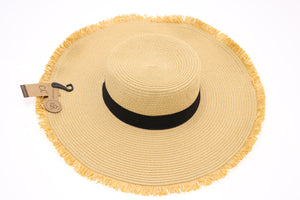 Frayed Edge Straw Wide Brim Hat ST3007
