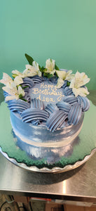 Blue Braided Floral Cake