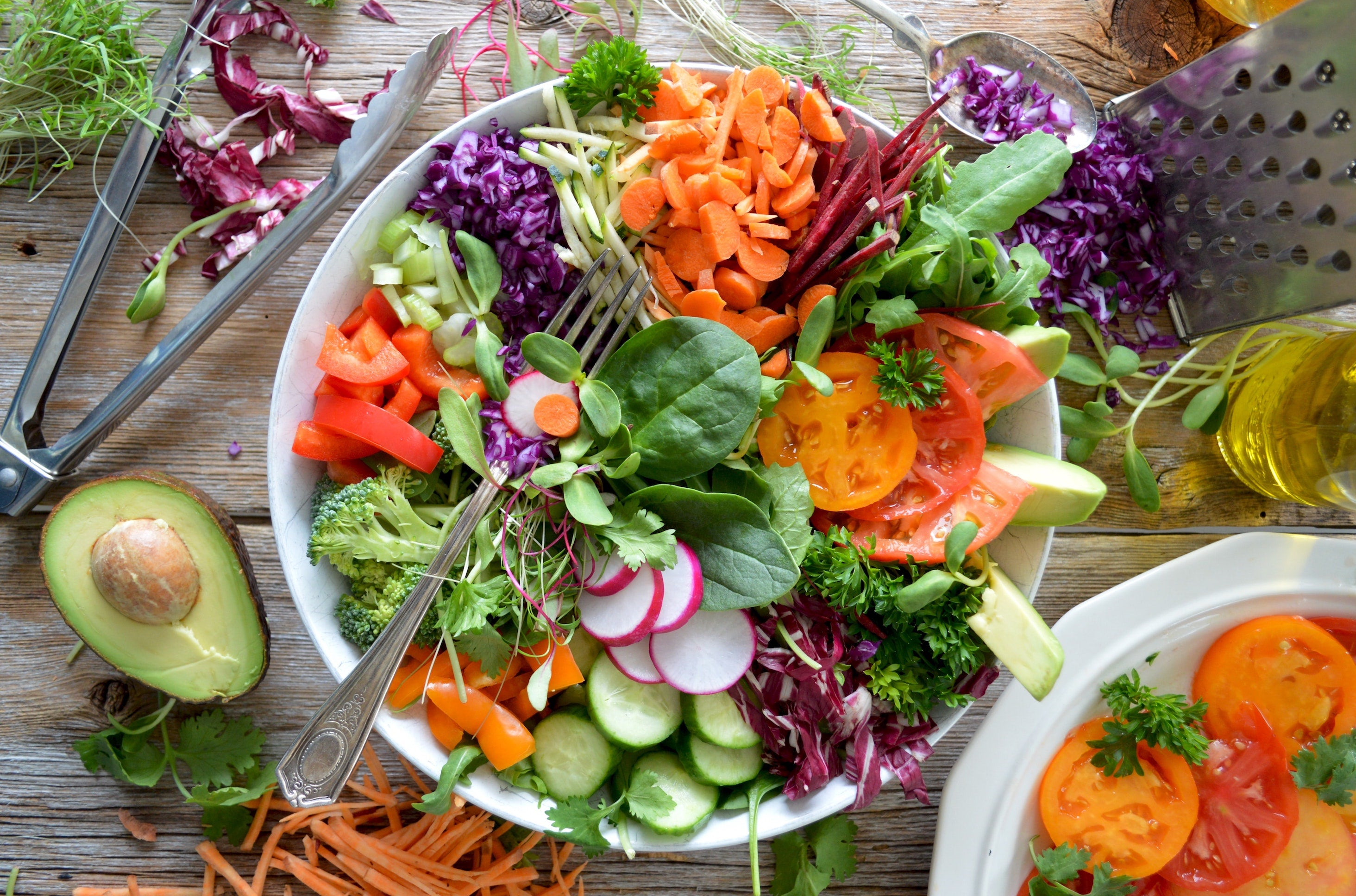 Healthy Foods on a plate with a fork