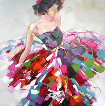 "Load image into Gallery viewer, ""Vibrant Dresses"" Hand Painted on Wrapped Canvas"