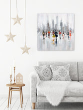 "Load image into Gallery viewer, ""Snow Fall in New York"" Hand Painted on Wrapped Canvas"