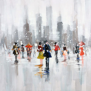 """Snow Fall in New York"" Hand Painted on Wrapped Canvas"