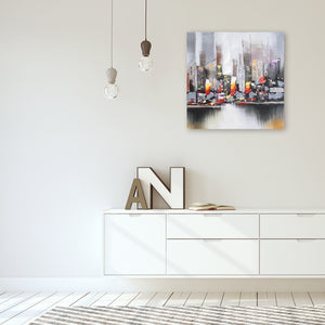 """City View New York"" Hand Painted on Wrapped Canvas"