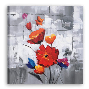 """Red Flowers"" Hand Painted on Wrapped Canvas"