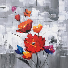 "Load image into Gallery viewer, ""Red Flowers"" Hand Painted on Wrapped Canvas"