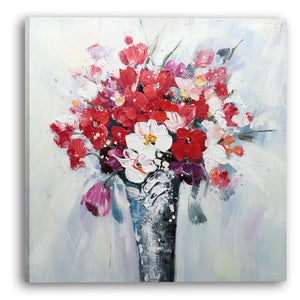 """Flowers in Vase"" Hand Painted on Wrapped Canvas"