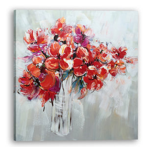 """Flowers in Vase Wall Decor Artwork II"" Hand Painted on Wrapped Canvas"