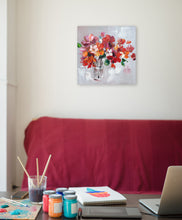 "Load image into Gallery viewer, "" Flowers in Vase Wall Decor Artwork III"" Hand Painted on Wrapped Canvas"