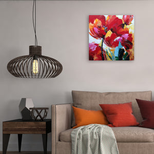 """Flaming Flowers"" Hand Painted on Wrapped Canvas"