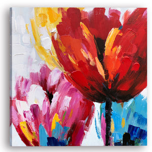 """Flaming Flowers II"" Hand Painted on Wrapped Canvas"