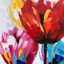 "Load image into Gallery viewer, ""Flaming Flowers II"" Hand Painted on Wrapped Canvas"
