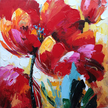 "Load image into Gallery viewer, ""Flaming Flowers"" Hand Painted on Wrapped Canvas"