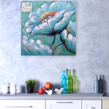 "Load image into Gallery viewer, ""Blue Flowers"" Hand Painted on Wrapped Canvas"