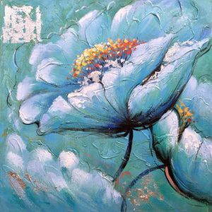 """Blue Flowers"" Hand Painted on Wrapped Canvas"