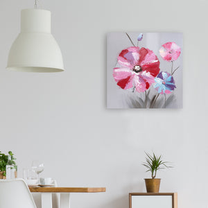 """Pink Flowers"" Hand Painted on Wrapped Canvas"