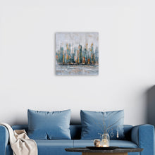 "Load image into Gallery viewer, ""City by the Sea"" Hand Painted on Wrapped Canvas"
