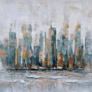 """City by the Sea"" Hand Painted on Wrapped Canvas"