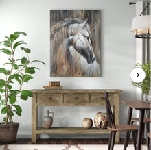 Load image into Gallery viewer, 'Horse on the wood' Oil Painting Print on Wrapped Canvas