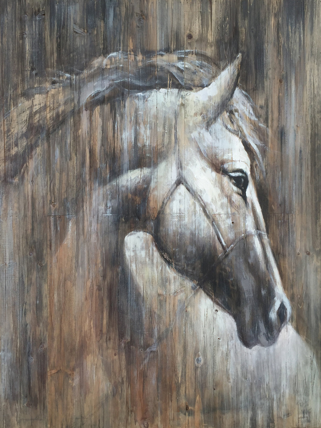 'Horse on the wood' Oil Painting Print on Wrapped Canvas