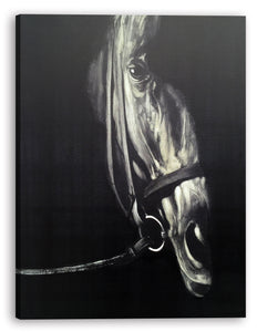 'Horse in the Dark IV' Oil Painting Print on Wrapped Canvas