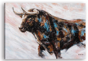 """Charging Bull Oil Painting"" Hand Painted on Wrapped Canvas"