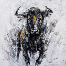 "Load image into Gallery viewer, ""Fearless Bull Oil Painting"" Hand Painted On Wrapped Canvas"