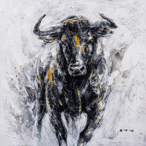 """Fearless Bull Oil Painting"" Hand Painted On Wrapped Canvas"
