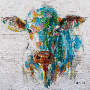 """Colorful Cow Oil Painting "" Hand Painted on Wrapped Canvas"