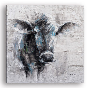 """Mysterious Cow Hand Painted"" Canvas Artwork"