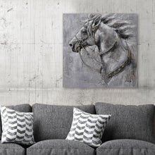 "Load image into Gallery viewer, ""An Iron Horse"" Oil Painting Print on Wrapped Canvas Size: 20"" x 20"""