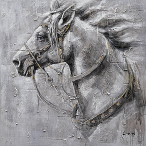 """An Iron Horse"" Oil Painting Print on Wrapped Canvas Size: 20"" x 20"""