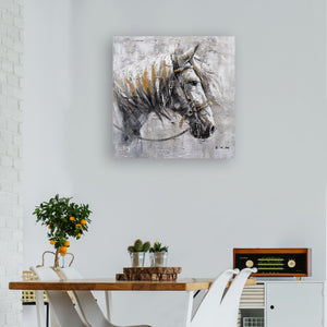 """An Iron Horse II"" Oil Painting Print on Wrapped Canvas Print, 30""x 30"""