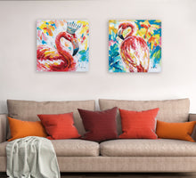 "Load image into Gallery viewer, ""The Queen Flamingo"" Oil Painting Print on Wrapped Canvas"