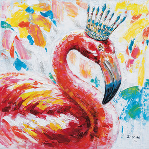 """The Queen Flamingo"" Oil Painting Print on Wrapped Canvas"