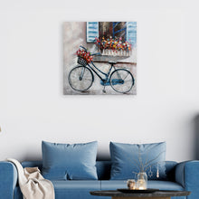 "Load image into Gallery viewer, ""A Bike under the window"" Hand Painted on Wrapped Canvas"