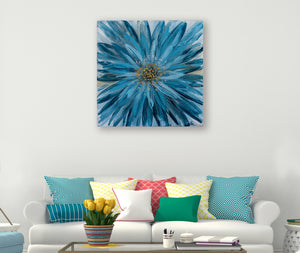 """Blue Daisy"" Hand Painted on Wrapped Canvas"