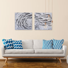 "Load image into Gallery viewer, ""School of Fish"" Hand Painted on Wrapped Canvas"