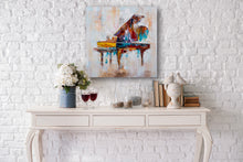 "Load image into Gallery viewer, ""Colorful Grand Piano"" Hand Painted on Wrapped Canvas"