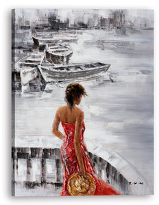"""Waiting at Sea"" Hand Painted on Wrapped Canvas"